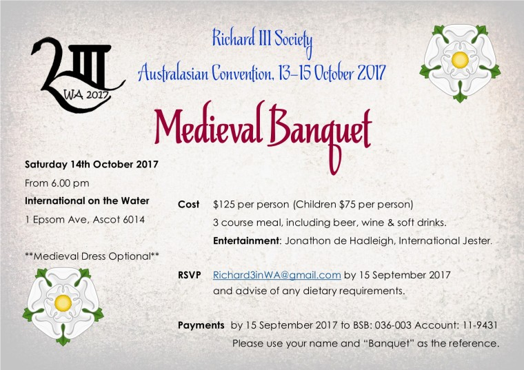 Australasian convention banquet invitation richard iii society banquet invitation stopboris Choice Image