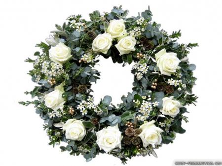 White Rose Christmas Wreath