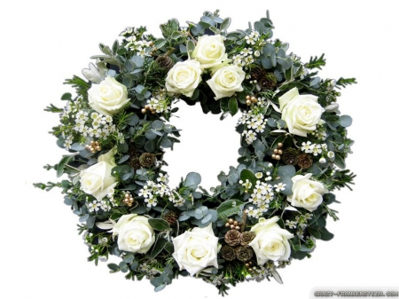 White Rose Christmas Wreath