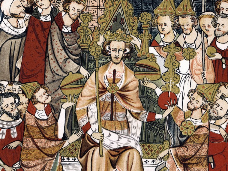 King Edward III - Coronation of King Edward - Early Fourteenth Century - England 13 November 1312 – 21 June 1377. Illumination. Image shot 1327. Exact date unknown.